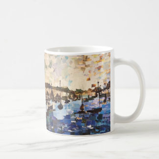 Boats On Lake Erie Paper Collage Mug