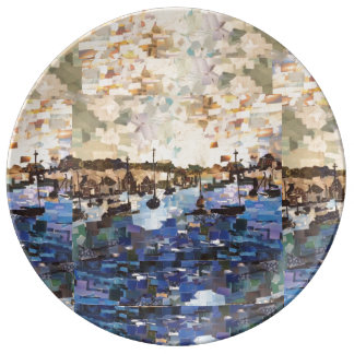 Boats On Lake Erie Paper Collage Porcelain Plate