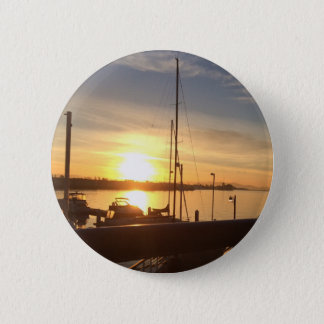 Boats on Marina at Sunset 2 Inch Round Button