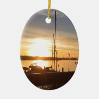 Boats on Marina at Sunset Ceramic Ornament