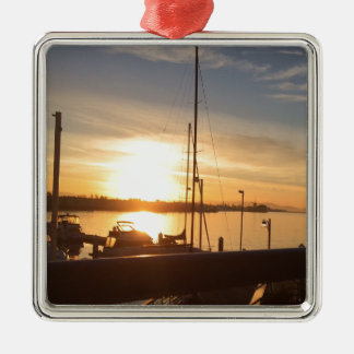 Boats on Marina at Sunset Metal Ornament