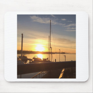 Boats on Marina at Sunset Mouse Pad