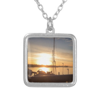 Boats on Marina at Sunset Silver Plated Necklace