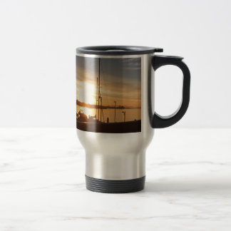 Boats on Marina at Sunset Travel Mug