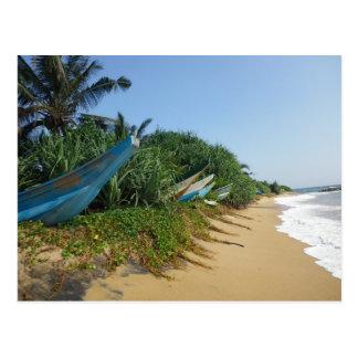 Boats on ocean shore   Sri Lanka Postcard