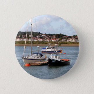 Boats on River Conwy, Wales 2 Inch Round Button