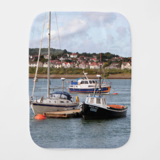 Boats on River Conwy, Wales Burp Cloth