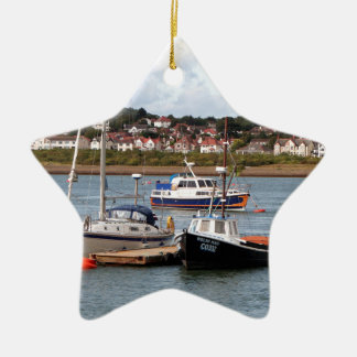 Boats on River Conwy, Wales Ceramic Ornament
