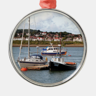 Boats on River Conwy, Wales Metal Ornament