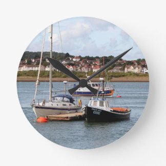 Boats on River Conwy, Wales Round Clock