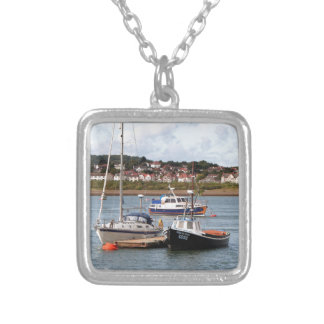 Boats on River Conwy, Wales Silver Plated Necklace