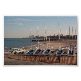 Boats on shore poster