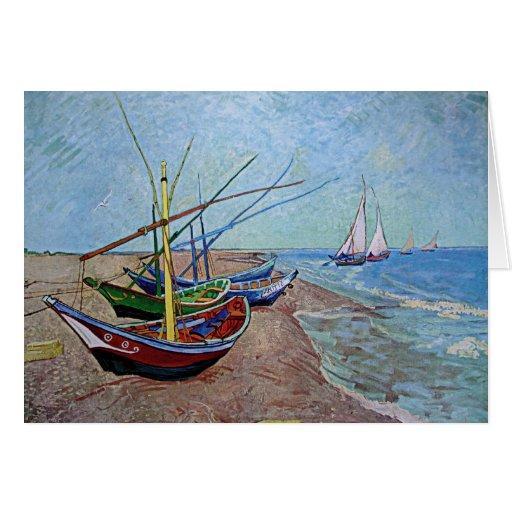 """Boats on the Beach at Saintes-Maries"" by Van Gogh Greeting Cards"