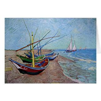 """Boats on the Beach at Saintes-Maries"" by Van Gogh Note Card"