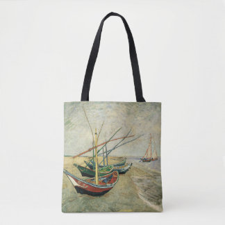 Boats on the Beach at Saintes-Maries Tote Bag