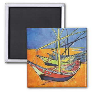 Boats on the Beach by Vincent van Gogh Square Magnet