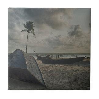 Boats on the Beach Tile