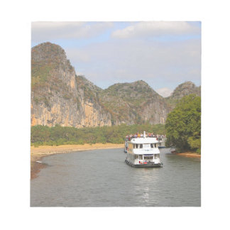Boats on the Li River, China Notepad