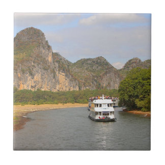 Boats on the Li River, China Tile