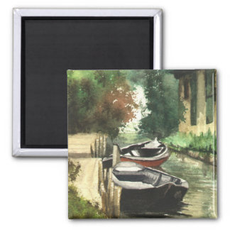 Boats on the River Square Magnet