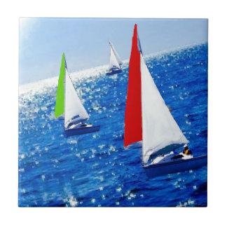 Boats over the sea ceramic tiles