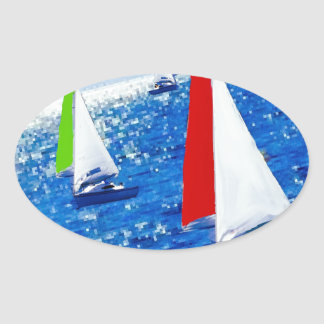 Boats over the sea oval sticker