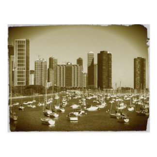 Boats parked at Lake Michigan in Chicago. Postcard