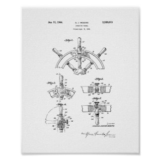 Boat's Steering Wheel Patent Poster