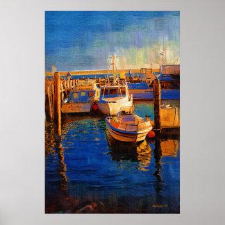 Boats, Sunset, Morro Bay, Calif Poster
