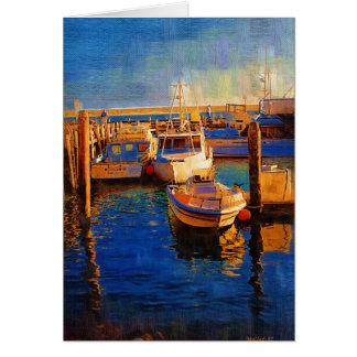 Boats, Sunset, Morro Bay, California Card