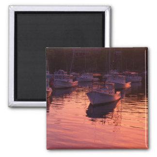 Boatyard at sunset square magnet
