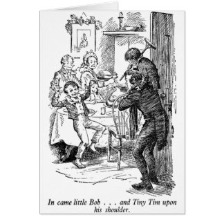 Bob and Tiny Tim (with text) Greeting Cards