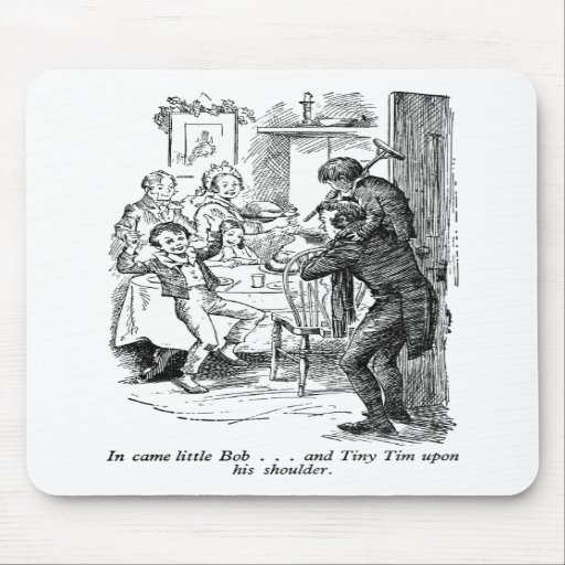 Bob and Tiny Tim (with text) Mouse Pad