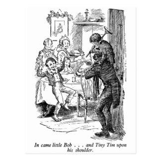 Bob and Tiny Tim (with text) Postcard