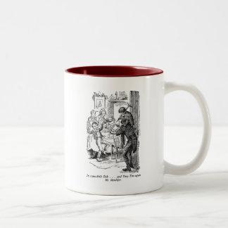 Bob and Tiny Tim (with text) Two-Tone Coffee Mug