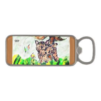 Bob cat art magnetic bottle opener