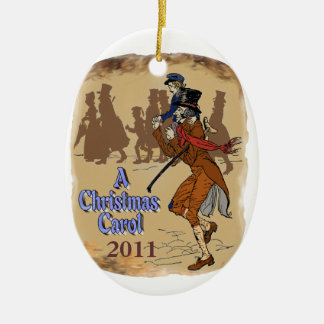 Bob Crachit and Tiny Tim Double-Sided Oval Ceramic Christmas Ornament