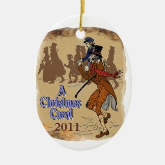 Bob Crachit and Tiny Tim Ceramic Oval Ornament