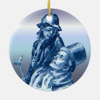 Bob Cratchit and Tiny Tim Christmas Carol Round Ceramic Ornament