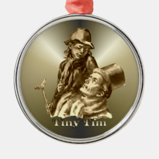Bob Cratchit and Tiny Tim Christmas Carol Silver-Colored Round Ornament
