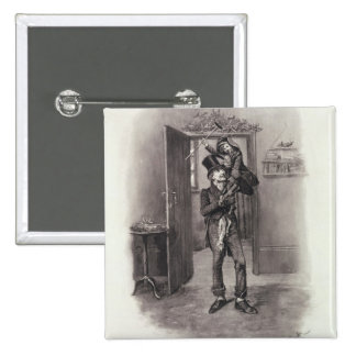 Bob Cratchit and Tiny Tim, from 'Charles Dickens: 2 Inch Square Button