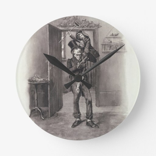 Bob Cratchit and Tiny Tim, from 'Charles Dickens: Wall Clock