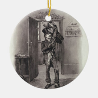 Bob Cratchit and Tiny Tim, from 'Charles Dickens: Round Ceramic Ornament