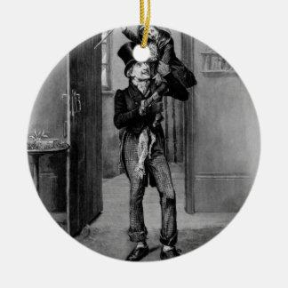 Bob Cratchit and Tiny Tim. Round Ceramic Ornament