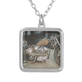 bobber bike silver plated necklace