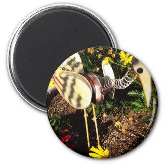 Bobbing Crane Lawn Ornament Folk Art 2 Inch Round Magnet