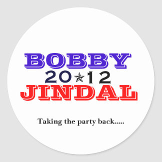 Bobby Jindal 2012 Classic Round Sticker