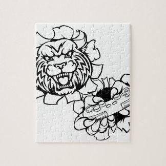 Bobcat Wildcat Esports Gamer Mascot Jigsaw Puzzle