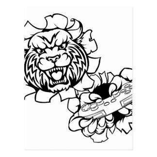 Bobcat Wildcat Esports Gamer Mascot Postcard