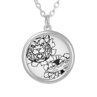 Bobcat Wildcat Esports Gamer Mascot Silver Plated Necklace